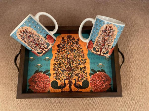 Vibrant Wooden Tray with Mugs Set