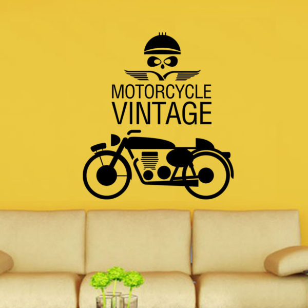 Vintage motorcycle quote wall decal.