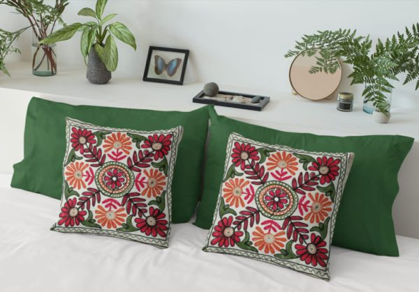 Embroidered cushion cover set